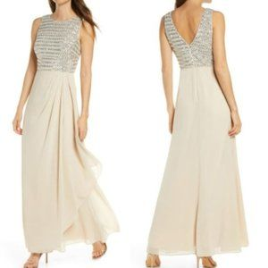 Vince Camuto Sequin Bodice Champagne Gown - Size 2